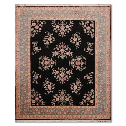 """Sarouk Romanian Hand-Knotted 100% Wool Persian Oriental Area Rug (7'9""""x9'8"""") - Black/Aqua, - 7'9"""" x 9'8"""" - 7'9"""" x 9'8"""""""