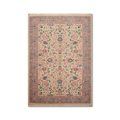 """Kashan Romanian Hand-Knotted 100% Wool Persian Oriental Area Rug (5'11""""x8'11"""") - Ivory/Blue - 5'11"""" x 8'11"""" - 5'11"""" x 8'11"""""""