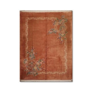 Antique-finished French Aubusson Orange/Multicolor Wool Handmade Floral Area Rug - 9'x12'
