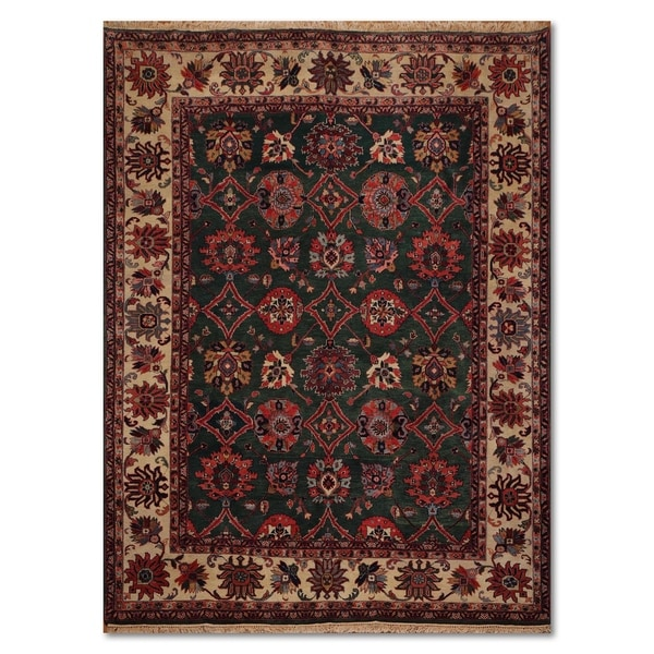Shop Beige Wool Hand Knotted Oriental Persian Area Rug 6: Shop Sultanabad Arts & Crafts Romanian Hand-Knotted 100