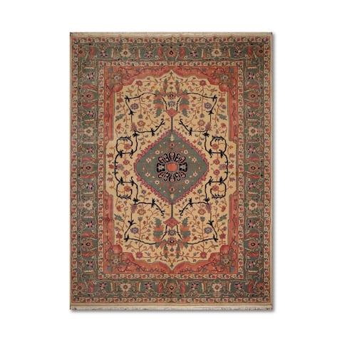 "Traditional Serapi Romanian Hand-Knotted 100% Wool Persian Oriental Area Rug (10'1""x13'1"") - Beige/Aqua - 10'1"" x 13'1"""
