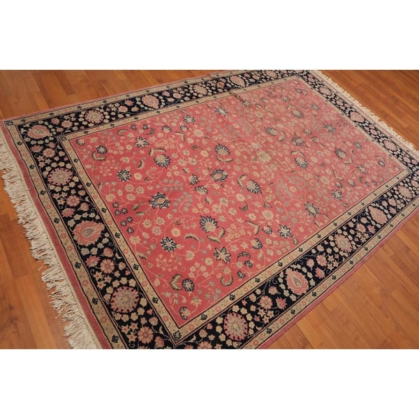 Tabriz Hand Knotted 100 Wool Persian Oriental Area Rug 5 11 X8 9 Pink Black 5 11 X 8 9 5 11 X 8 9 On Sale Overstock 23111488