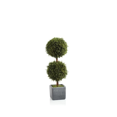 """16"""" Tall """"Cypress"""" Round Topiary, Green and Gray"""