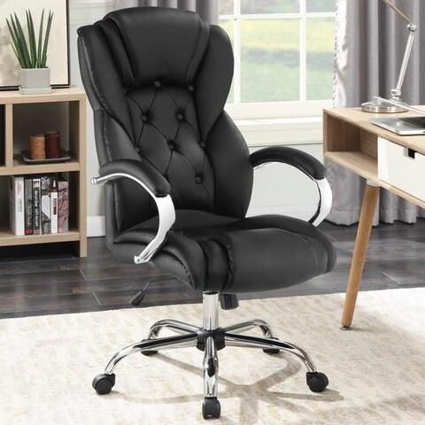 Button Tufted Plush Cushion Executive Office Chair