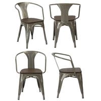 Antique Distress Gunmetal Metallic Wood Dining Arm Chairs, Set of 4