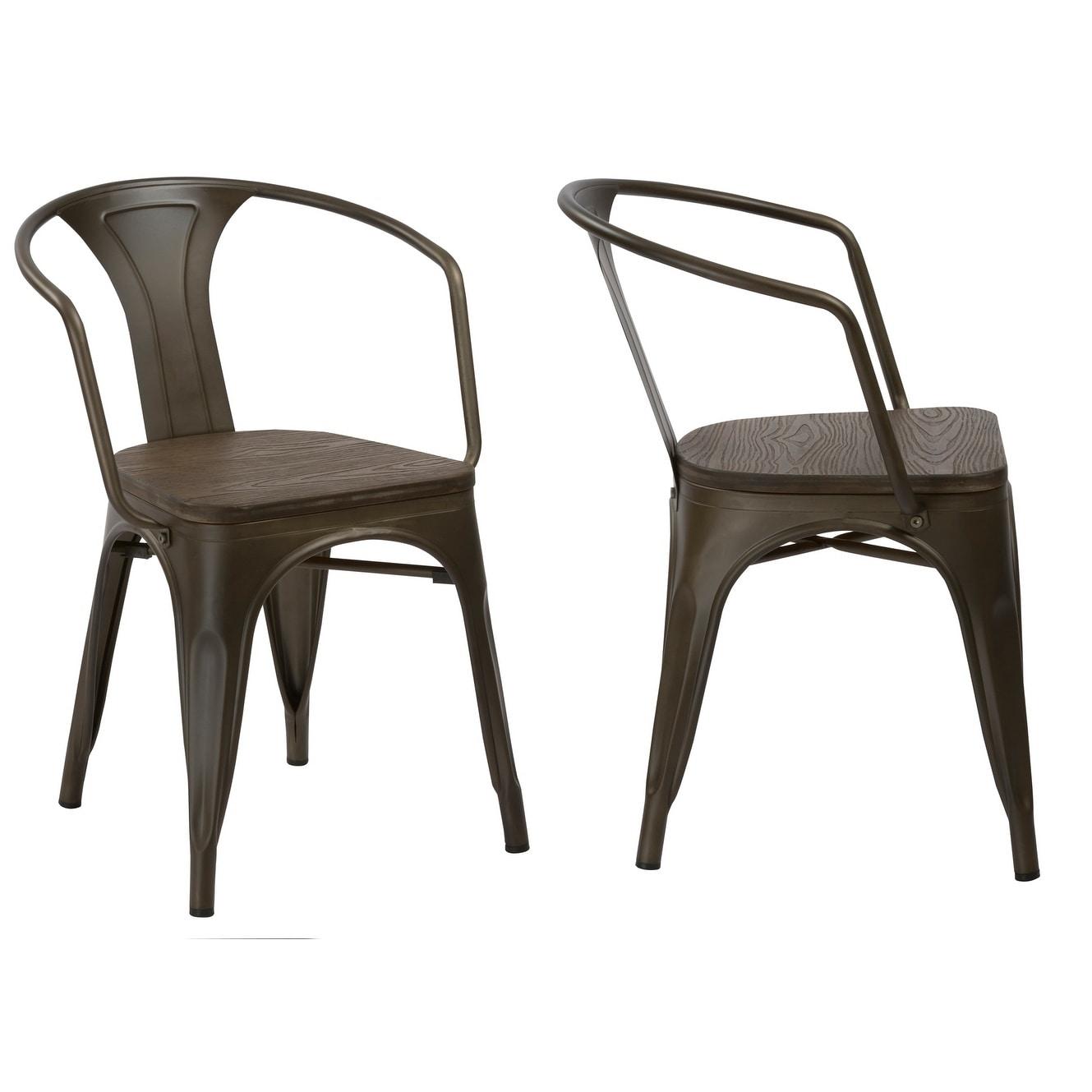 BTEXPERT 5060MCC-4 Distressed Dining Bistro Cafe Industrial Metal Antique Copper Bronze Indoor Outdoor Rustic Arm Chair