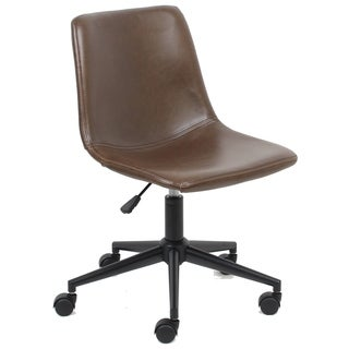 BTExpert Mid Back Fuax Leather Task Chair, Brown Office Chair