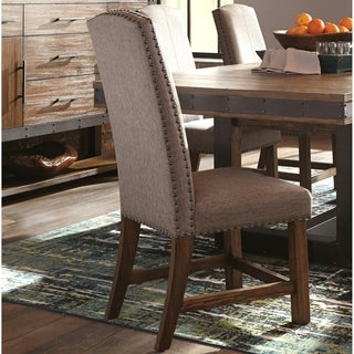 Rustic Design Dining Parson Chairs with Nailhead Trim (Set of 2)