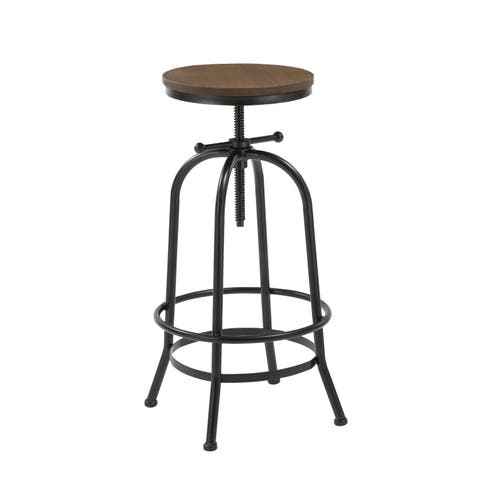 Distressed 27 to 35 Inch Industrial Swivel Adjustable Counter Bar Height Pub Stool Wood