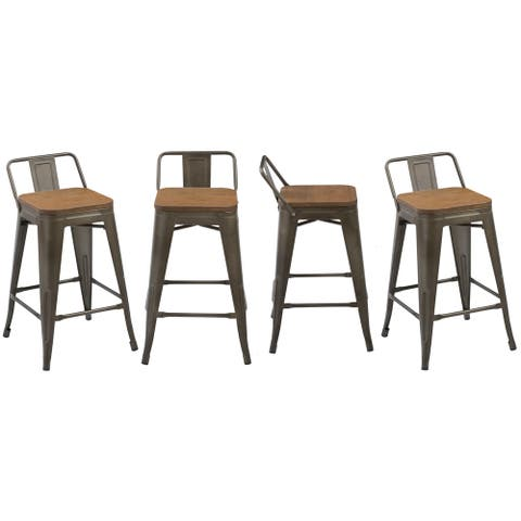 "Industrial 24"" Rustic Metal Wood Indoor Outdoor Counter Bar Stool, Set of 4"