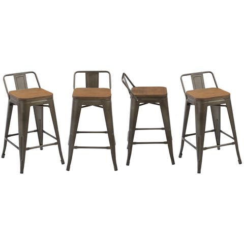 """Industrial 24"""" Rustic Metal Wood Indoor Outdoor Counter Bar Stool, Set of 4"""