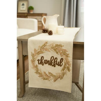 """Glitzhome 72""""L Thanksgiving Embroidered Table Runner - 72""""x13"""""""