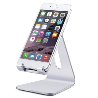 Silver Portable Aluminum Desktop Stand Smart Phone Tablet Holder Stand