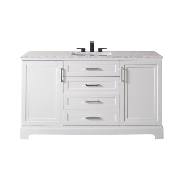 Stufurhome Idlewind 60 Inch White Single Sink Bathroom Vanity with Drain and Faucet in Matte Black. Opens flyout.