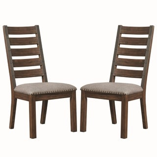 Rustic Ladder Back Design Dining Chairs with Nailhead Trim (Set of 2)