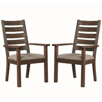 bf70d153df62 Rustic Ladder Back Design Dining Arm Chairs with Nailhead Trim (Set of 2).  Sale