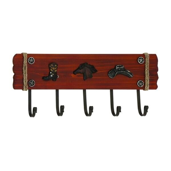 Uniquely Stylish American Cowboy Themed Wooden Metal Wall Hook Brand Benzara