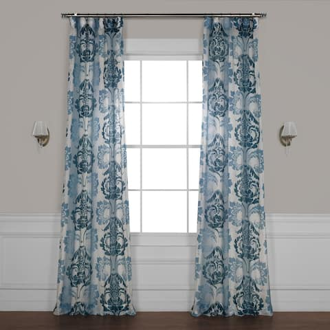 Exclusive Fabrics Damacus Printed Faux Linen Sheer Curtain