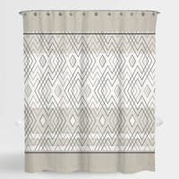"""Geometric Beige Grey Rosland Water Repellent Shower Curtain 72""""X72"""",Free 12-Piece Shower Curtain Rings"""