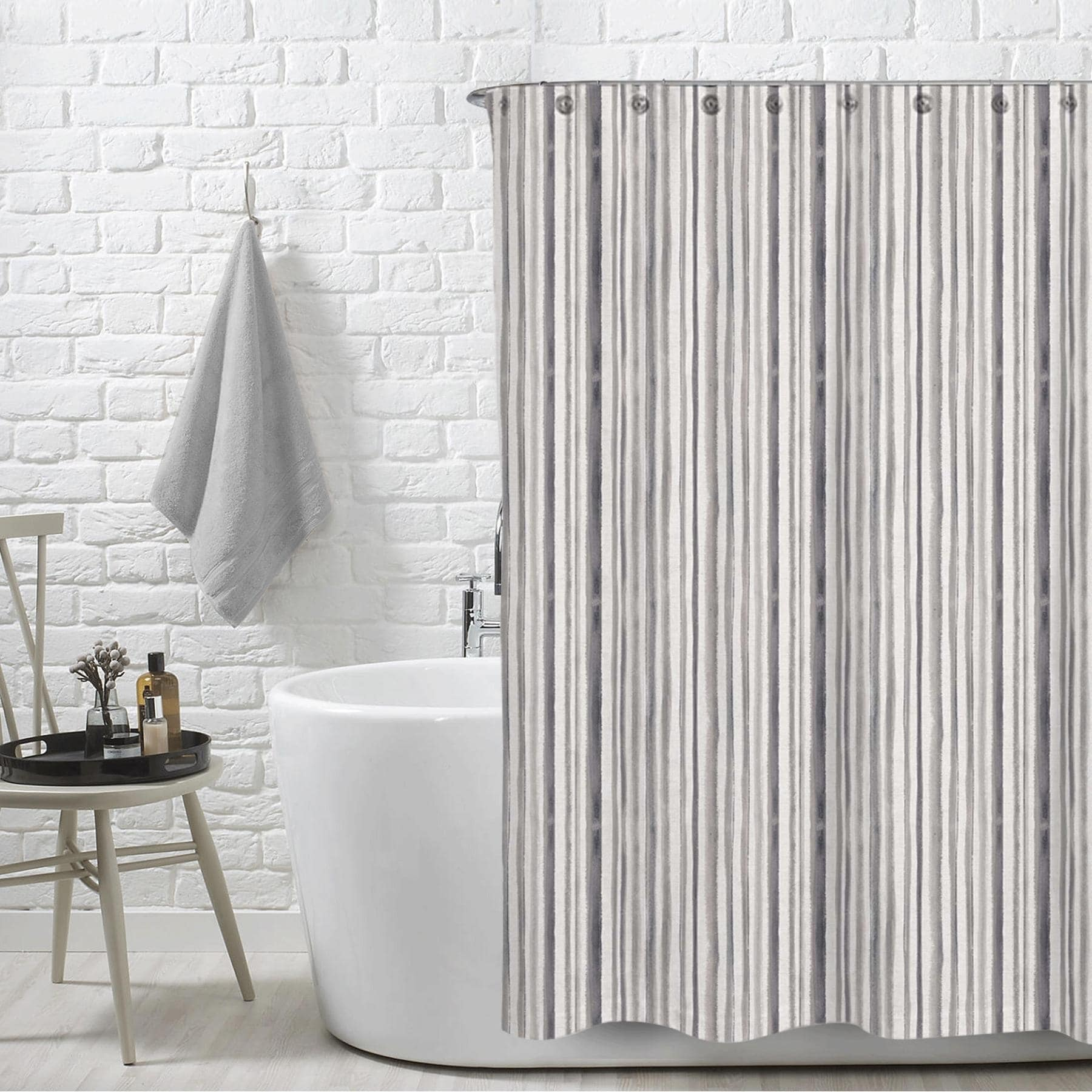 Stripe Neutral Mira Water Repellent Shower Curtain 72 X72 Free 12 Piece Shower Curtain Rings