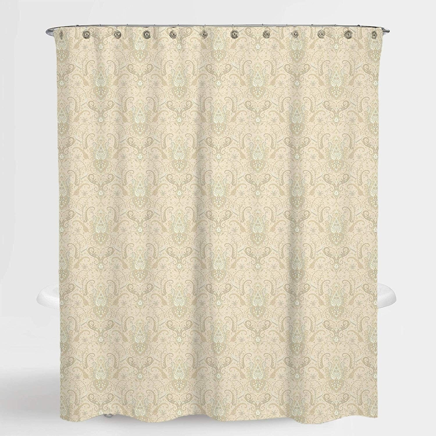 Royal Paisley Beige Lucia Water Repellent Shower Curtain 72 X72 Free 12 Piece Shower Curtain Rings