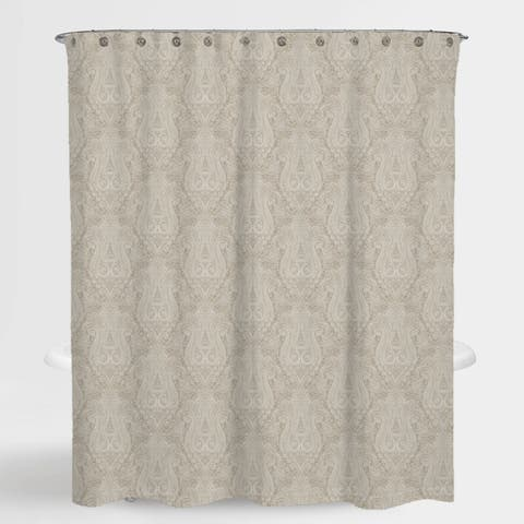 "Paisley Beige Hailey Water Repellent Shower Curtain 72""X72"",Free 12-Piece Shower Curtain Rings"