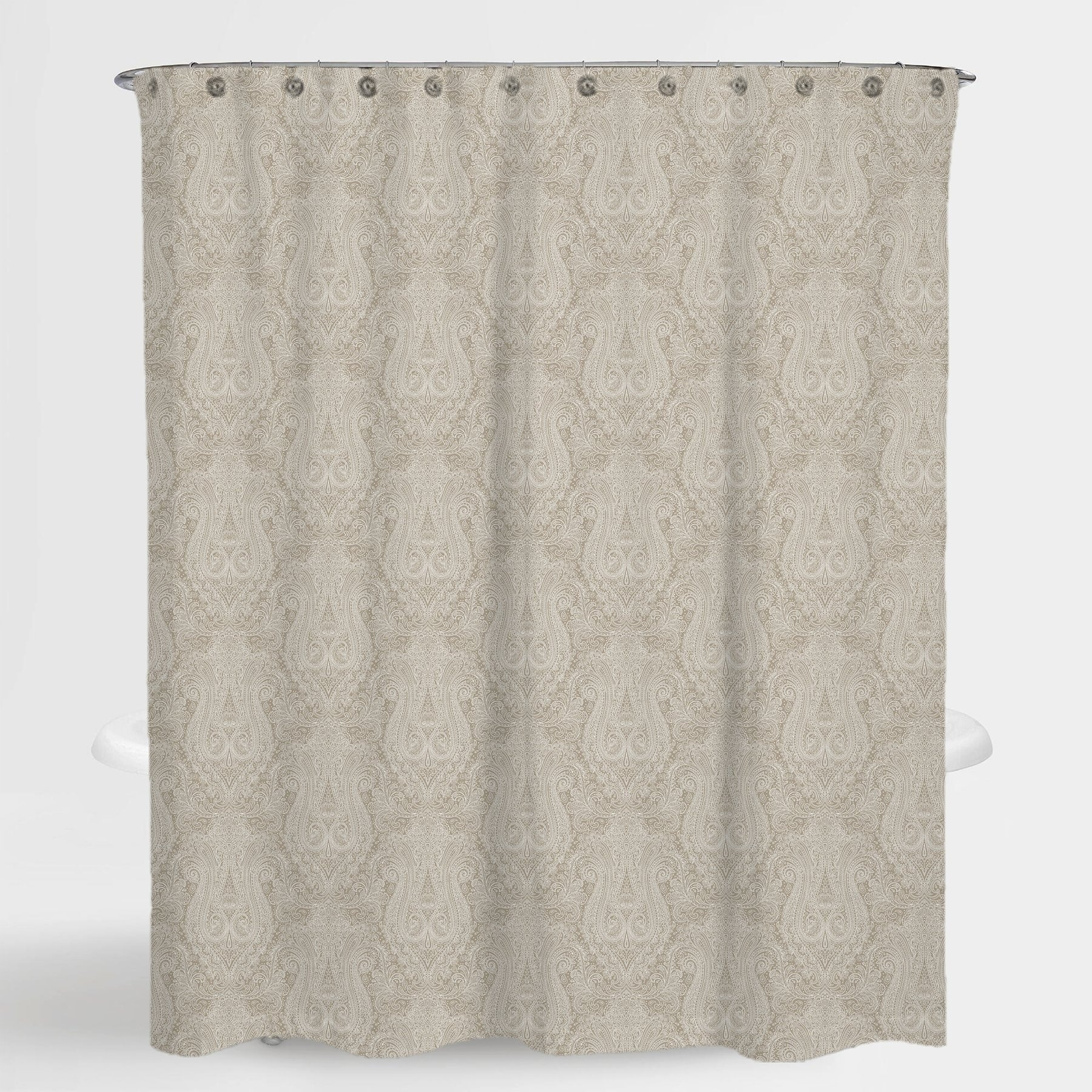 Paisley Beige Hailey Water Repellent Shower Curtain 72 X72 Free 12 Piece Shower Curtain Rings
