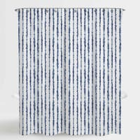 "Tie Die Stripe Blue Neiman Water Repellent Shower Curtain 72""X72"",Free 12-Piece Shower Curtain Rings"