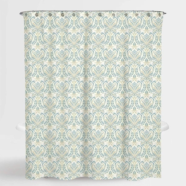 "Damask Blue Vince Shower Water Repellent Curtain 72""X72"",Free 12-Piece Shower Curtain Rings"
