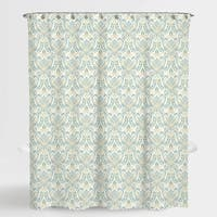 """Damask Blue Vince Shower Water Repellent Curtain 72""""X72"""",Free 12-Piece Shower Curtain Rings"""