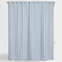 """Stripe Blue Two Tone Resa Water Repellent Shower Curtain 72""""X72"""",Free 12-Piece Shower Curtain Rings"""