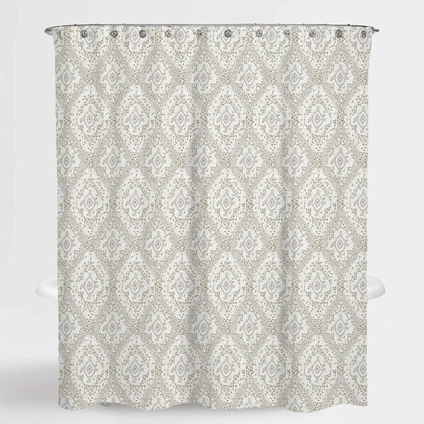 """Damask Beige Richmond Water Repellent Shower Curtain 72""""X72"""",Free 12-Piece Shower Curtain Rings"""
