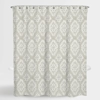 "Damask Beige Richmond Water Repellent Shower Curtain 72""X72"",Free 12-Piece Shower Curtain Rings"