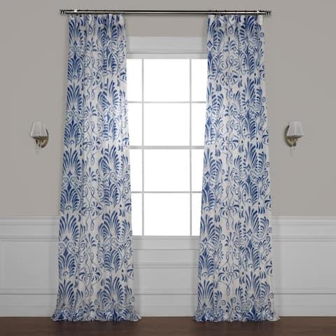 Exclusive Fabrics Xenia Printed Faux Linen Sheer Curtain