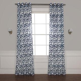 Exclusive Fabrics Matrix Grommet Printed Faux Linen Sheer Curtain
