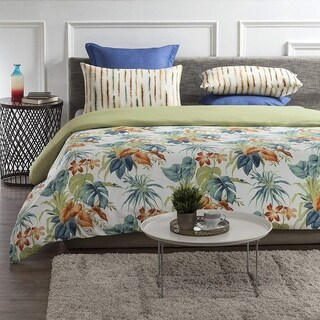Palm Oasis Wrinkle Resistant Reversible Print 100% Organic Cotton Duvet Cover and Sham Set of 2