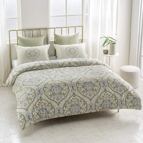 Gracia Wrinkle Resistant Reversible Print 100% Organic Cotton Duvet Cover and Sham Set of 2
