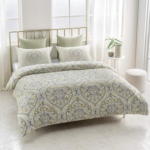 Gracia Wrinkle Resistant Reversible Print 100% Organic Cotton Duvet Cover and Sham Set of 2
