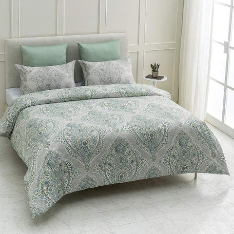 Genia Wrinkle Resistant Reversible Print 100% Organic Cotton Duvet Cover and Sham Set of 2