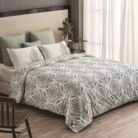 Trellis Wrinkle Resistant Reversible Print 100% Organic Cotton Duvet Cover and Sham Set of 2