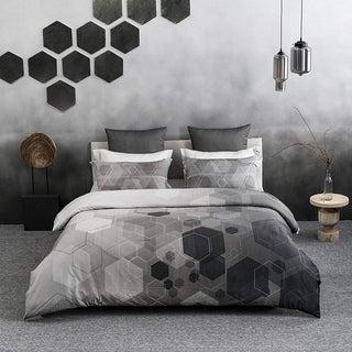 Hexad Wrinkle Resistant Reversible Print 100% Organic Cotton Duvet Cover and Sham Set of 2
