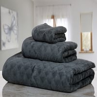 Casa Platino - 3D Diamond Fine Cotton Jacquard 3 Piece Towel Set