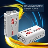 Soshine 2pcs Power Battery 6F22 9V Li-ion Lithium 650mAh Rechargeable Battery - White