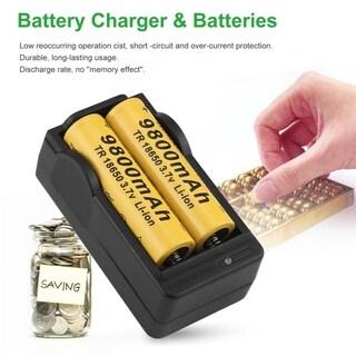 4pcs 18650 3.7V 9800mAh Rechargeable Li-ion Battery + EU Charger Set For Torch