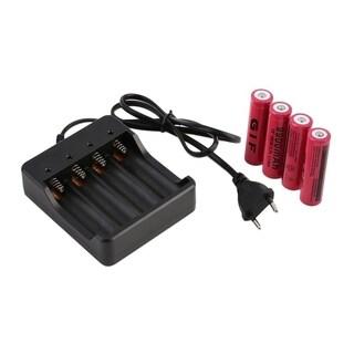 4pcs 18650 3.7V 9900mAh Li-ion Rechargeable Battery + EU Charger Indicator - RED