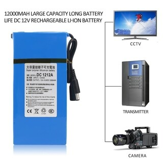 12000MAH Large Capacity Long Battery Life DC 12V Rechargeable Li-ion Battery