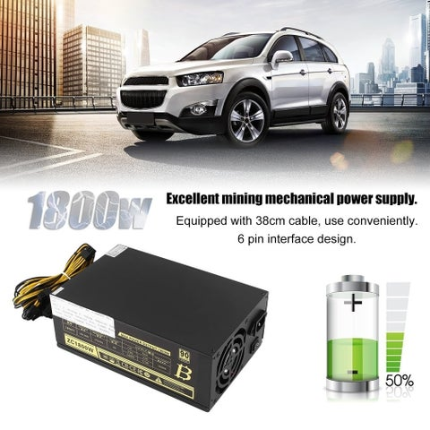 1800W Miner Mining Dedicated Power Supply 6Pin For BTB S5 S7 S9 A6 A7 L3 R4 - black