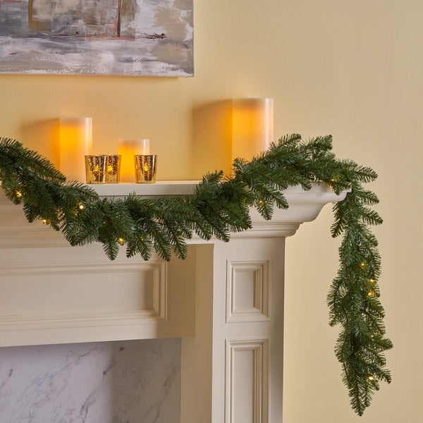henosis christmas garland 9 pre lit norway spruce battery operated includes - Battery Operated Christmas Garland