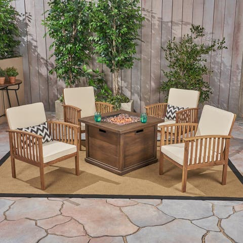 Carolina Outdoor 4-Seater Acacia Wood Club Chairs with Firepit by Christopher Knight Home