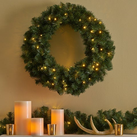 "Yuletide Christmas Wreath 24"" Noble Fir Battery-Operated Includes Timer by Christopher Knight Home"